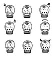 sketches of human smile set skull vector image