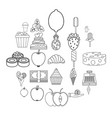 sugar icons set outline style vector image vector image