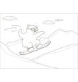 Teddy bear on a snowboard contours vector image