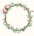 watercolor round rose flower frame vector image vector image