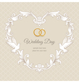 Wedding heart frame gold vector image vector image