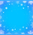 winter falling snow blue background christmas or vector image