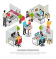 programmers coworking space isometric composition vector image