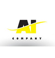 ai a i black and yellow letter logo with swoosh vector image