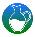 amphora sign white icon in bluish circle vector image vector image
