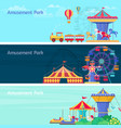 amusement park banner set with different vector image