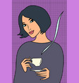 asian woman with a cup of coffee vector image