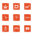 cab agency icons set grunge style vector image