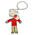 cartoon terrified old man with thought bubble vector image