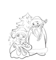 Christmas card Santa and Snow Maiden with gifts vector image