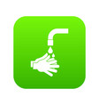 cleaning hands icon digital green vector image vector image