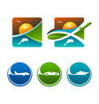 colorful travel and transport icons eps10 vector image