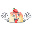 crazy strawberry pudding served on mascot plate vector image vector image