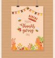 crown bee garland foliage happy thanksgiving vector image