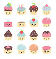 cute cakes character with eyes cute cakes vector image vector image