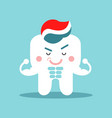 cute cartoon muscular tooth character with vector image vector image
