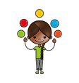 cute girl juggling balls character icon vector image