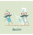 Doctor runs to a syringe for patient vector image