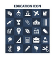 education icons on blue boxes vector image