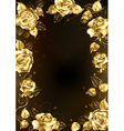 frame with gold roses vector image vector image