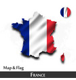 france map and flag waving textile design dot vector image