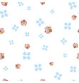 gingerbread house and snowflake seamless pattern vector image