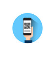 hand hold smart phone scanning qr code icon vector image
