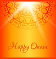 happy onam greeting card with orange background vector image vector image