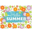 Hello Summer inscription on background of fruit vector image