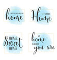 home quote calligraphy on blue watercolor vector image