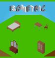 isometric furniture set of drawer bedstead vector image vector image