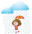 little girl standing in the rain vector image