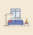 living or rest room flat or apartment with sofa vector image