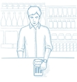 Man paying wireless with smart watch vector image vector image