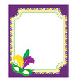 mardi gras beads colored frame with a mask vector image vector image
