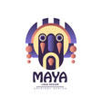 maya logo design emblem with ethnic mask vector image vector image