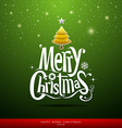 Merry Christmas lettering on green background vector image vector image