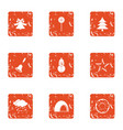 new years eve icons set grunge style vector image