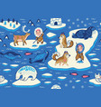 north pole seamless pattern with wild animals vector image vector image