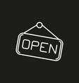 open hanging door plate simple icon on black vector image vector image