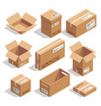 opening and closed cardboard boxes isometric vector image