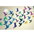Origami Birds flying and fake clouds background vector image vector image