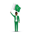 pakistan flag waving man vector image vector image