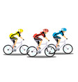 racing three cyclists on white background vector image vector image
