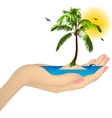 Sea island with palm in a female hand vector image vector image