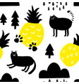 seamless pattern with yellow pineapples and cute vector image vector image