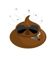 Serious Shit turd in dark glasses and cigar vector image vector image