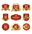 set anniversary label gold and red vector image