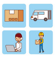 set of worker logistic delivery truck cardboard vector image vector image