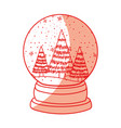shadow christmas glass snow ball vector image vector image